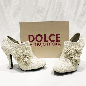 Shoes - Cream Lace Heel Booties